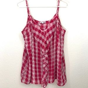 CAbi Pink Houndstooth Spaghetti Strap Tank Top
